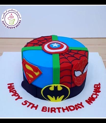 Superheroes Themed Cake - 2D Fondant Logos - 1 Tier 02a