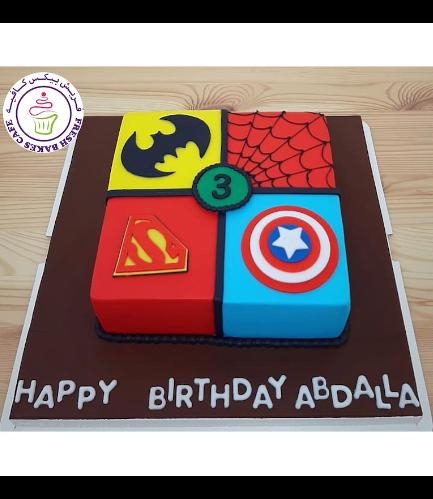 Superheroes Themed Cake - 2D Fondant Logos - Square 01a