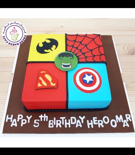 Superheroes Themed Cake - 2D Fondant Logos - Square 01b