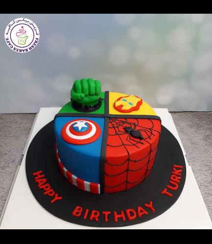 Superheroes Themed Cake - 2D Fondant Logos & 3D Hulk Hand  - 1 Tier 02b