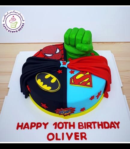 Superheroes Themed Cake - 2D Fondant Logos & 3D Hulk Hand  - 1 Tier 03