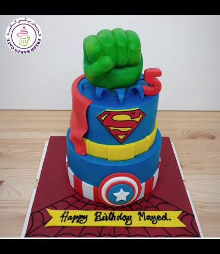 Superheroes Themed Cake - 2D Fondant Logos & 3D Hulk Hand  - 2 Tier 02