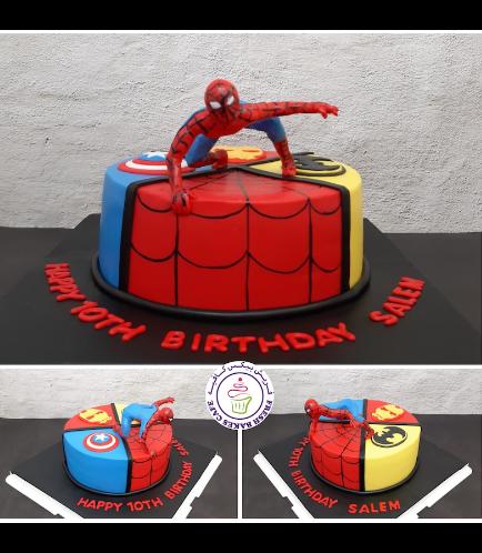Superheroes Themed Cake - 2D Fondant Logos & 3D Spider-Man