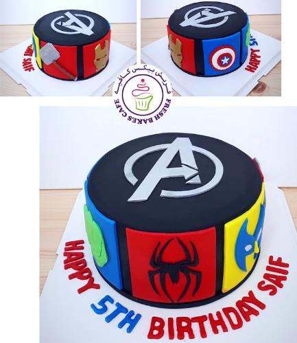 Superheroes Themed Cake - Avengers - 2D Logos