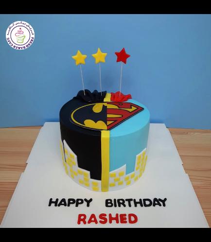 Superheroes Themed Cake - Printed Logos - 1 Tier