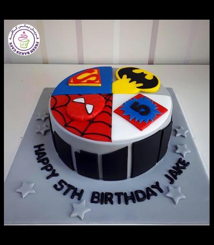 Superheroes Themed Cake - 2D Fondant Logos - 1 Tier 01