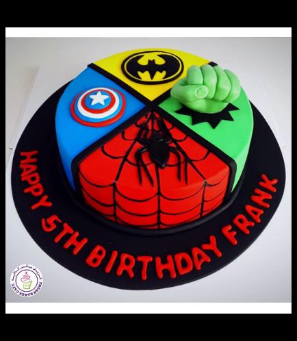 Superheroes Themed Cake - 2D Fondant Logos & 3D Hulk Hand  - 1 Tier 01