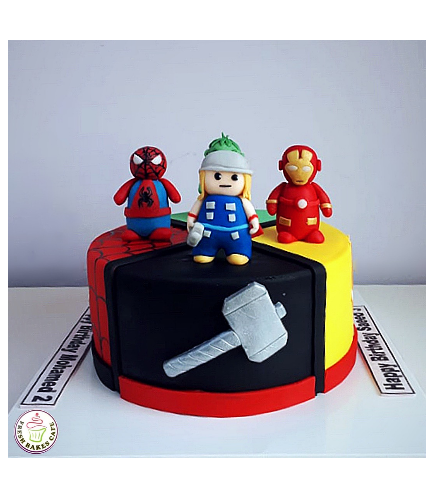Superheroes Themed Cake - 3D Characters 02a
