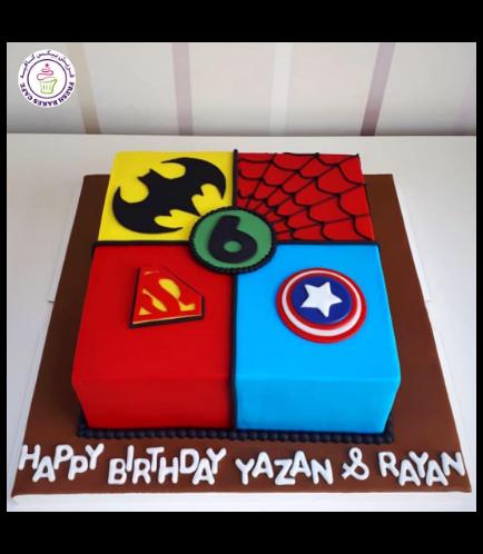 Superheroes Themed Cake - 2D Fondant Logos - Square 01