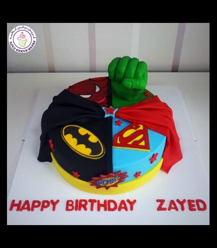Superheroes Themed Cake - Printed Logos & 3D Hulk Hand