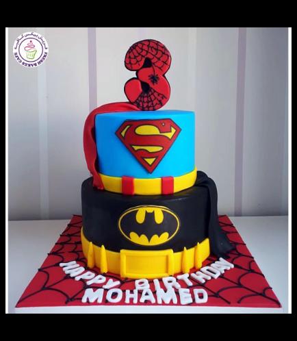 Superheroes Themed Cake - Printed Logos - 2 Tier 02
