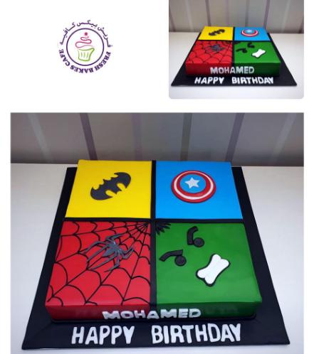 Superheroes Themed Cake - 2D Fondant Logos - Square 02