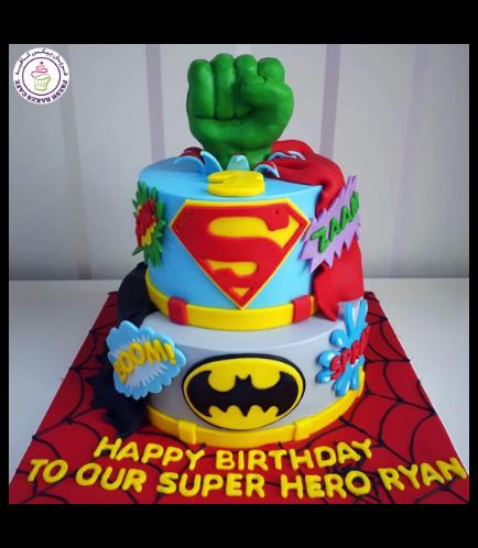 Superheroes Themed Cake - 2D Fondant Logos & 3D Hulk Hand  - 2 Tier 01a
