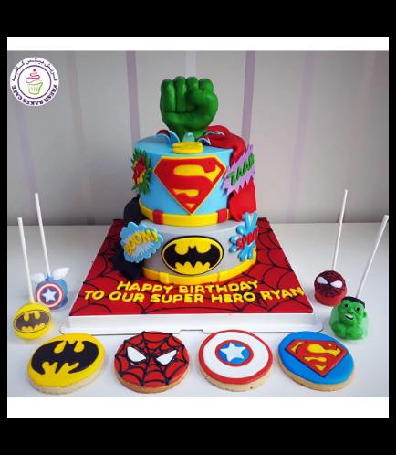 Superheroes Themed Cake - 2D Fondant Logos & 3D Hulk Hand  - 2 Tier 01b