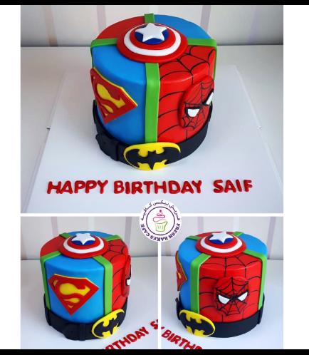 Superheroes Themed Cake - 2D Fondant Logos - 1 Tier 02