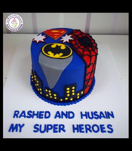 Superheroes Themed Cake - 2D Fondant Logos - 1 Tier 03