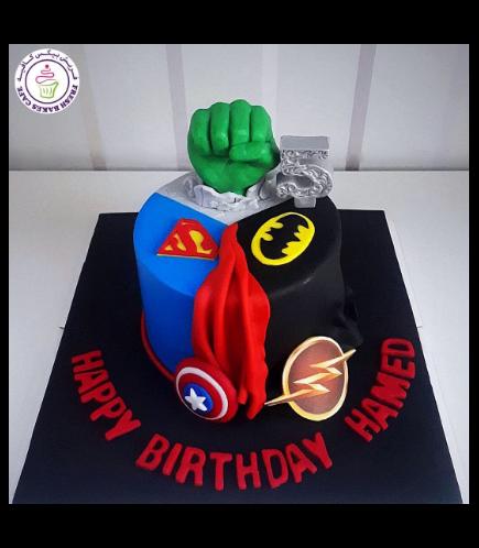Superheroes Themed Cake - 2D Fondant Logos & 3D Hulk Hand  - 1 Tier 02