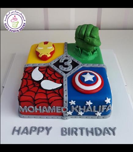 Superheroes Themed Cake - 2D Fondant Logos & 3D Hulk Hand  - Square Cake