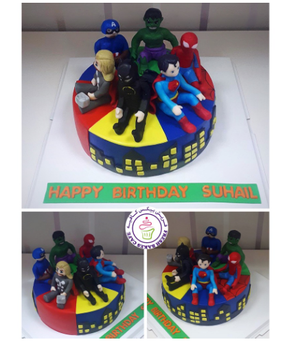 Superheroes Themed Cake - 3D Characters 06