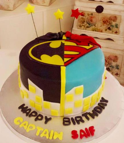 Superheroes Themed Cake - Printed Logos - 1 Tier 01