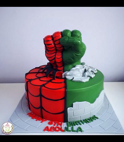 Superheroes Themed Cake - 3D Spider-Man & Hulk Hand