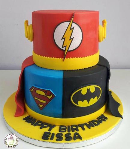 Superheroes Themed Cake - Printed Logos - 2 Tier 01