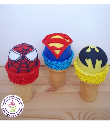Superheroes Themed Cone Cake Pops - Logos 03