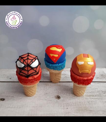 Superheroes Themed Cone Cake Pops - Logos 04