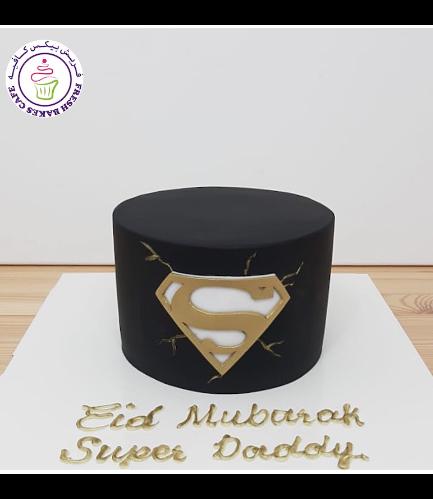 Superman Themed Cake - Logo - Black & Gold