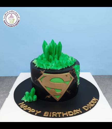 Superman Themed Cake - Logo - Black & Gold - Kryptonite