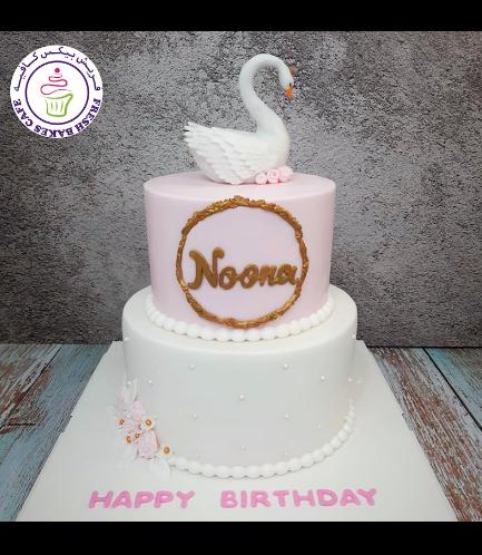 Swan Themed Cake - 3D Cake Topper - 2 Tier