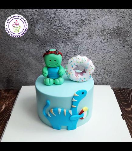 Swimming Pool Themed Cake - Turtle & Dinosaur