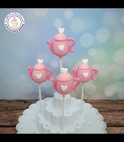 Teapot Themed Cake Pops - Pink