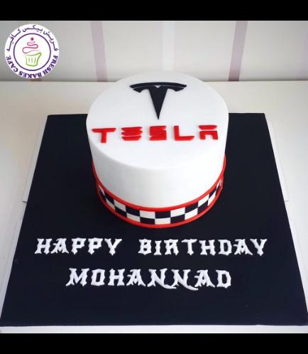 Tesla Logo Themed Cake