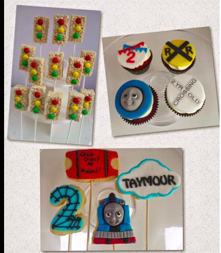 Thomas the Train Themed Krispie Treats, Cupcakes, & Cookies