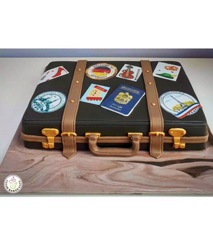 Cake - Suitcase - 3D Cake - Passport & Travel Stamps