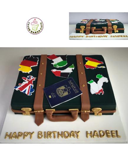 Cake - Suitcase - 3D Cake - Passport & Maps