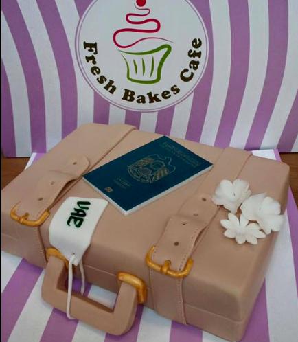 Cake - Suitcase - 3D Cake - Passport & Flowers