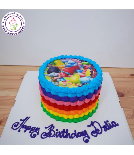 Cake - Printed Picture - Cream - Rainbow