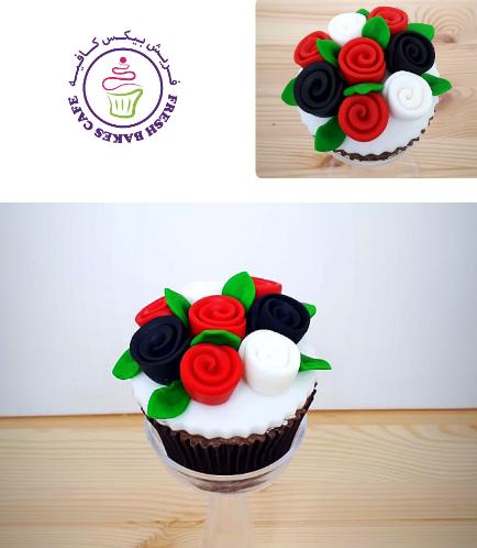 Cupcakes - Flag Colors - Fondant Flowers 02