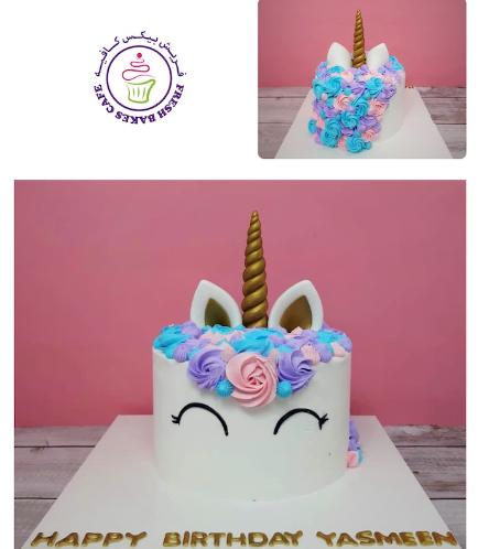 Cake - Unicorn - Cream Cake - Cream Piping - 1 Tier 009