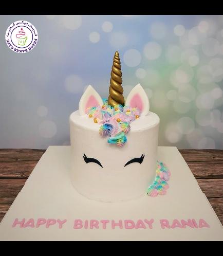 Cake - Unicorn - Cream Cake - Cream Piping - 1 Tier 010