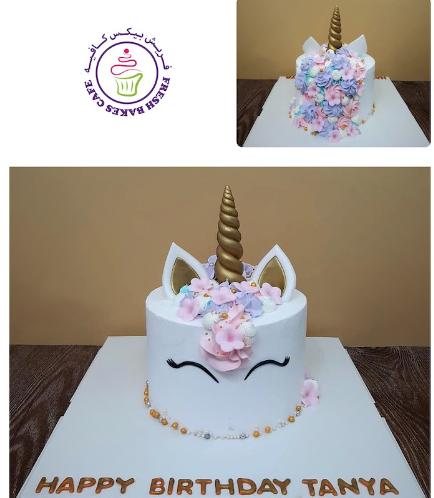 Cake - Unicorn - Cream Cake - Cream Piping & Flowers