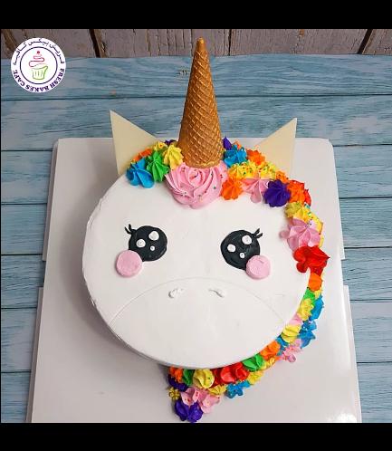 Cake - Unicorn - Cream Cake - Round Flat