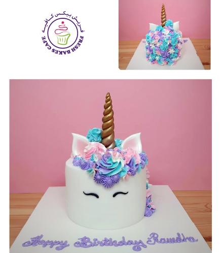 Cake - Unicorn - Fondant Cake - Cream Piping - 1 Tier 002