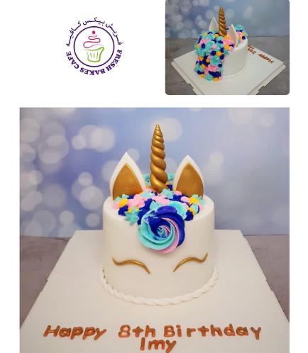 Cake - Unicorn - Fondant Cake - Cream Piping - 1 Tier 018