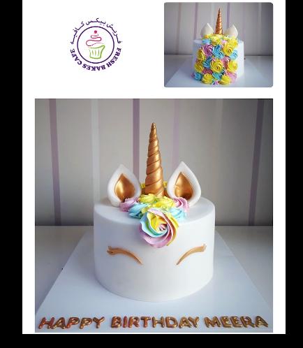 Cake - Unicorn - Fondant Cake - Cream Piping - 1 Tier 022