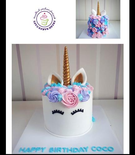 Cake - Unicorn - Fondant Cake - Cream Piping - 1 Tier 029
