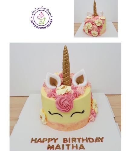 Cake - Unicorn - Fondant Cake - Cream Piping - 1 Tier 032