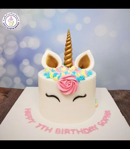 Cake - Unicorn - Fondant Cake - Cream Piping - 1 Tier 033